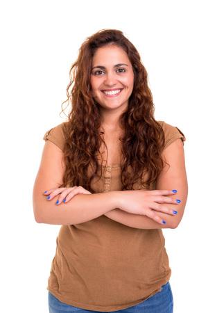 Femme heureuse surpondérés posant isolé sur fond blanc Banque d'images - 82270644