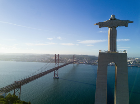 Aerial view of the statue of Cristo-Rei in Lisbon - Portugal Stock Photo