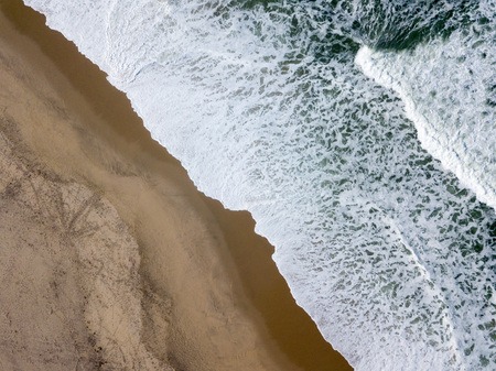 Drone view of the beautiful Portuguese beach of Costa Nova do Prado - Aveiro