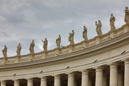 Statues of Saints on the Colonnades of St. Peters Square in Vatican City