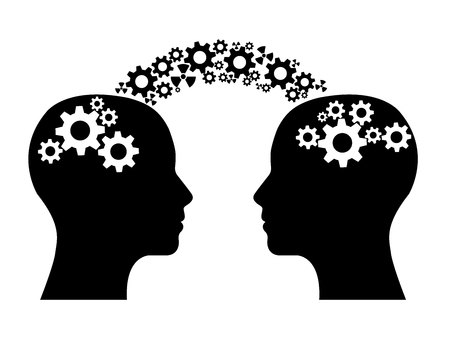 Dos cabezas compartiendo engranajes de conocimiento