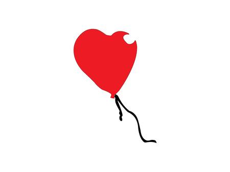 Heart shaped red balloon illustration