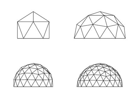 Vettore dell'illustrazione della linea di cupole geodetiche Vettoriali