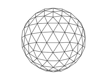 Vector de ilustración de línea de esfera geodésica