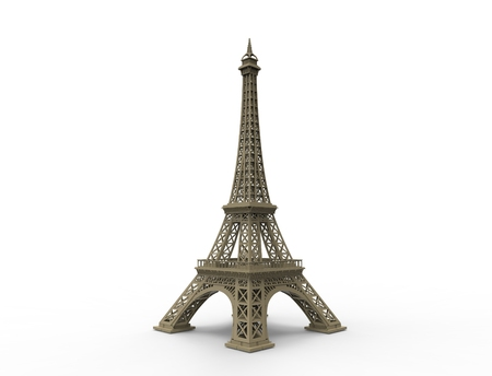 3D rendering of the tourist attraction Eiffel tower in Paris France. 스톡 콘텐츠