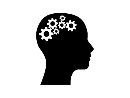 head side view with gears inside thinking vector illustration