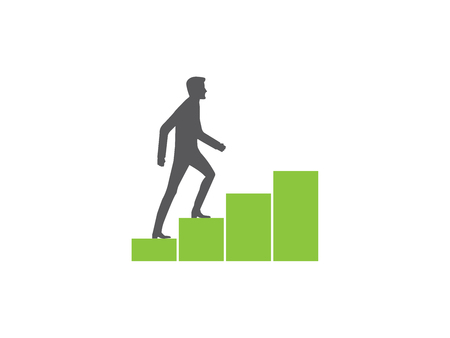 Personal growth, man walking up a rising graph