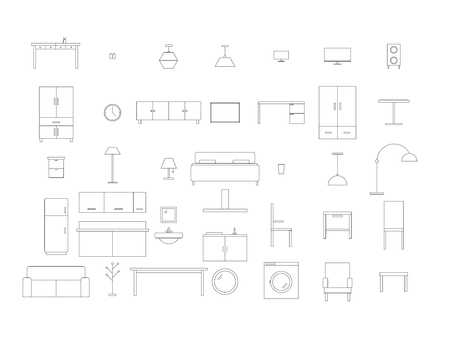 House furniture line drawing sketch vector isolated on white background
