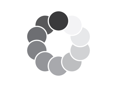 Overlapping grey circles logo template isolated on white background