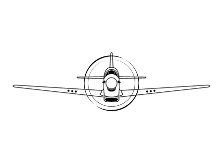 Airplane front view vector illustration isolated on white background. Vektorové ilustrace