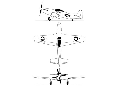 north american World war 2 fighter airplane blue print Illustration
