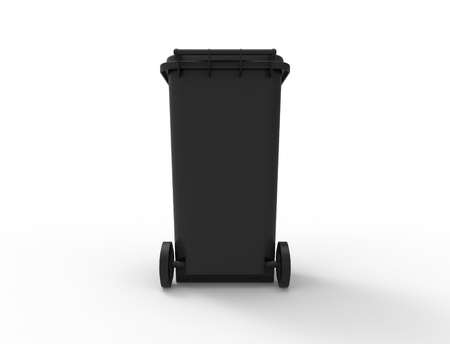 3D rendering of a consumer trash waste bin container.