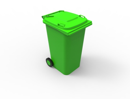 3D rendering of a green consumer trash waste bin container. Stock Photo
