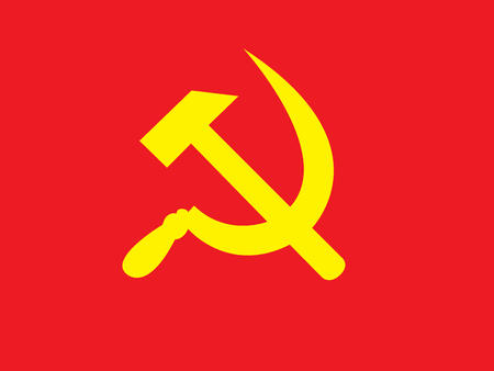 Hammer and Sickle illustration Colored in red and yellow.
