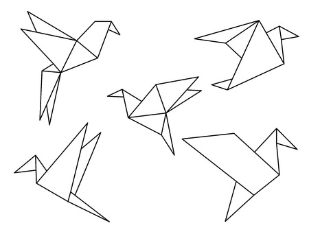 Origami birds line drawing vector isolated on white background