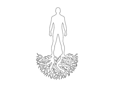 Person silhouette roots personality vector isolated on white background.