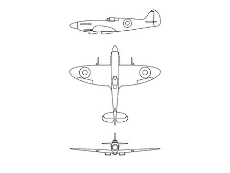 Submarine spitfire line illustration vector blue print on white background. Archivio Fotografico - 123291795