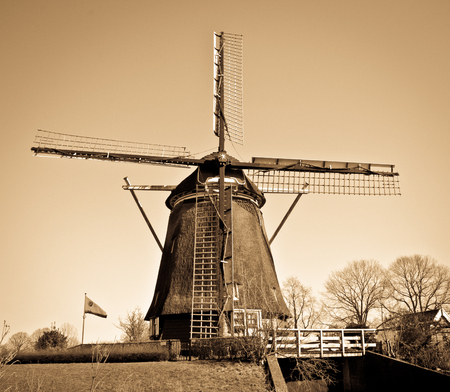 Traditional Windmill holland vintage with brown colored filter