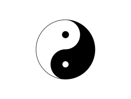 Yin Yang symbol icon illustration isolated on white background
