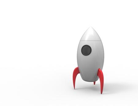 Renderowania 3D rakiety zabawkowej kreskówki ioslated na białym tle