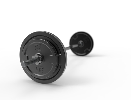 3D rendering of a metal barbell with weights on it isolated in white background. 写真素材 - 123292406