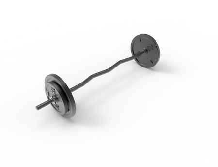 3D rendering of a metal barbell with weights on it isolated in white background.