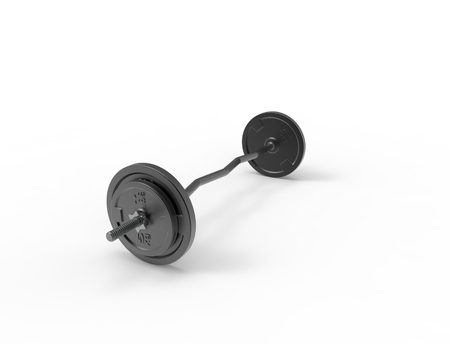 3D rendering of a metal barbell with weights on it isolated in white background. 写真素材 - 123292509