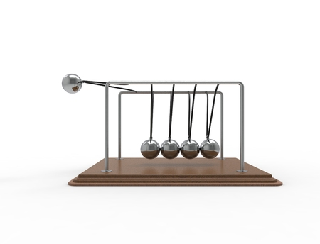 3D rendering of a Newton cradle isolated on white studio background Фото со стока