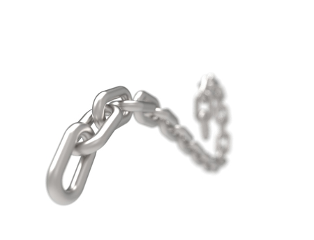 3D rendering of a curling flowing metal chain on white background. Stock Photo