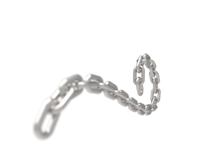 3D rendering of a curling flowing metal chain on white background. Stock Photo - 123852823