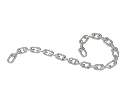 3D rendering of a curling flowing metal chain on white background. Stock Photo - 123852825
