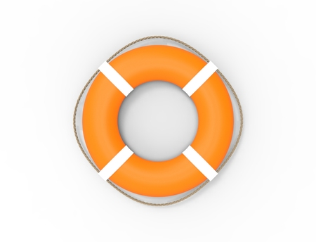 3D rendering of a orange life buoy isolated on white background