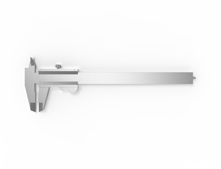 3D rendering of a calliper isolated on white background