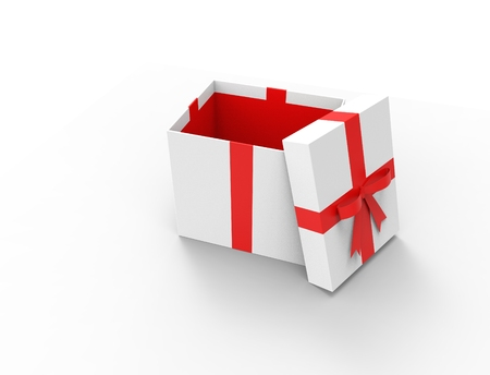 3D rendering of a gift box with open lit isolated in studio background. Imagens