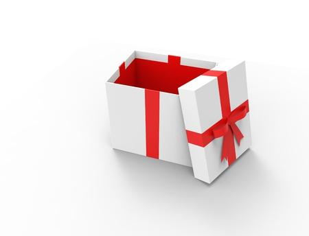 3D-weergave van een geschenkdoos met open verlichte geïsoleerd in studio achtergrond. Stockfoto