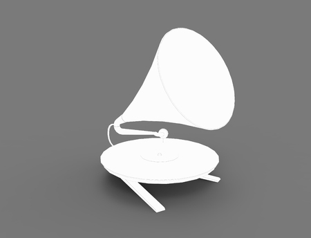 3D rendering of a vintage record player isolated in studio background