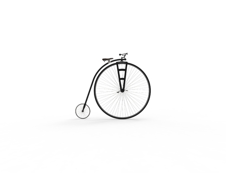 3D rendering of a vintage velocipede isolated on white background. Banque d'images - 124485619