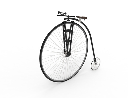 3D rendering of a vintage velocipede isolated on white background. Banque d'images - 124485620