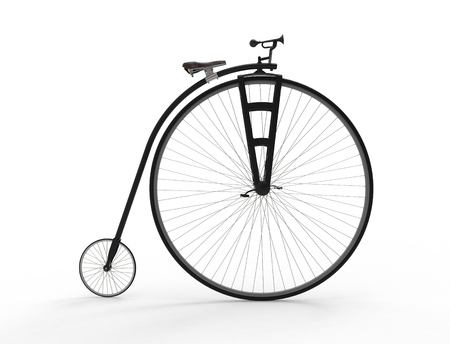 3D rendering of a vintage velocipede isolated on white background. Banque d'images - 124485622