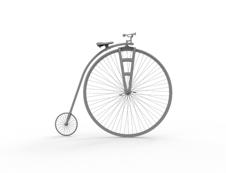 3D rendering of a vintage velocipede isolated on white background. Stock Photo