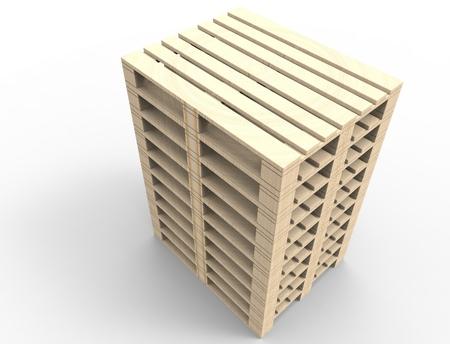 3D-Rendering von Holzpaletten in weißem Studiohintergrund isoliert. Standard-Bild