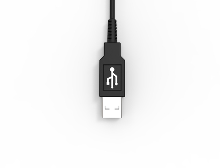 3D rendering of a USB cable plug isolated on white studio background