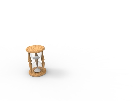 3D rendering of an hour glass isolated on white bacgkround Stock Photo