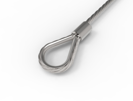 3D rendering of a metal wire cable isolated in white studio background