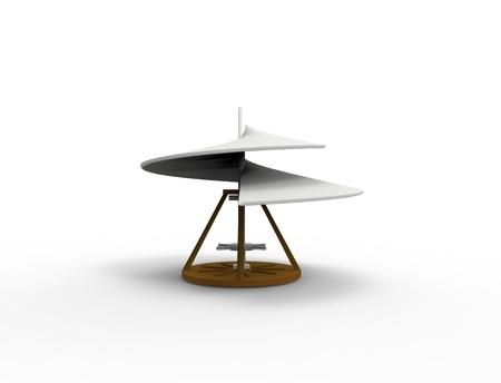 3d rendering Leonardo Da Vinci airscrew aerial screw helicopter isolated in white background. Фото со стока