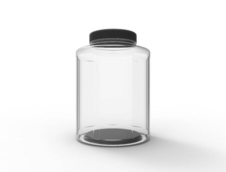 3d rendering of a plastic glass jar isolated on white background. Reklamní fotografie