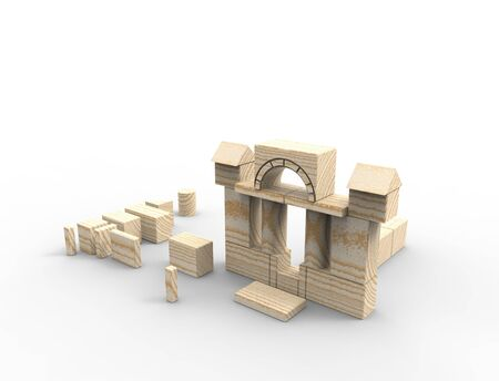 3d rendering of stacked wooden building blocks isolated on white background.