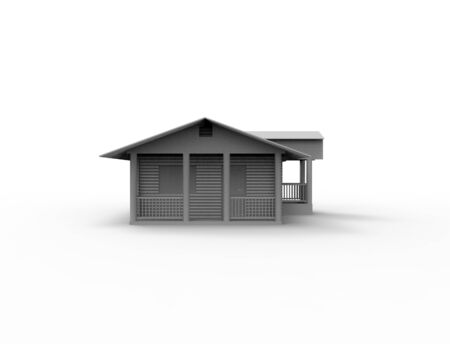 3d rendering of a small cabin house isolated in white background. Stock fotó