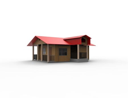 3d rendering of a small cabin house isolated in white background. Imagens