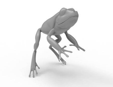 3d rednering of a jumping frog isolated in white studio background. Фото со стока
